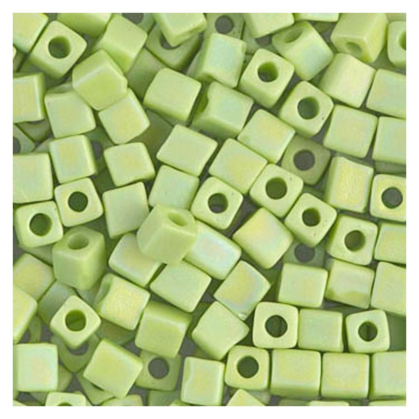 Miyuki Square Beads 3mm 0416FR Matted Opaque Chartreuse AB  - 10g