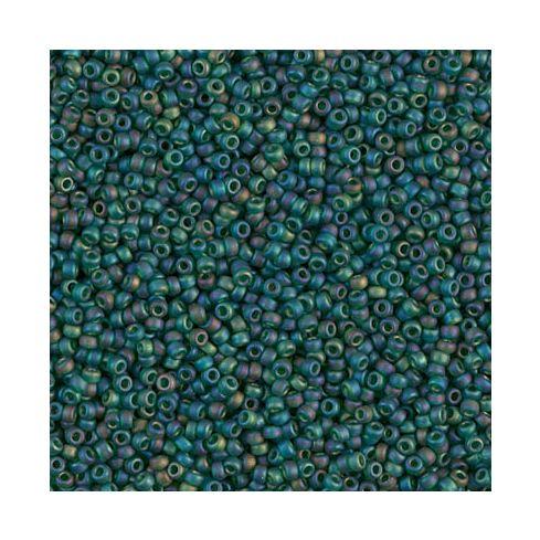 Miyuki Rocailles 15/0 0156FR Matted Transpareny Dark Emerald AB