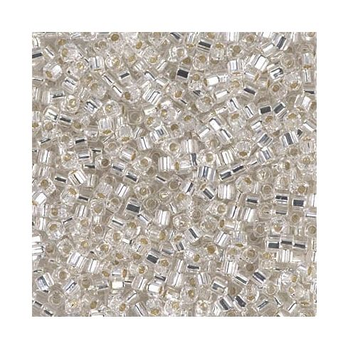 Miyuki Square Beads 1.8mm 0001 Crystal Silver Lined