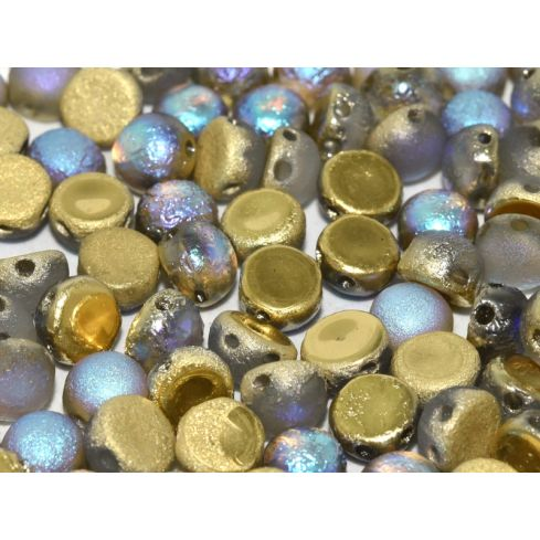 2-Hole Cabochon 6mm 00030-98586 Crystal Etched Golden Rainbow