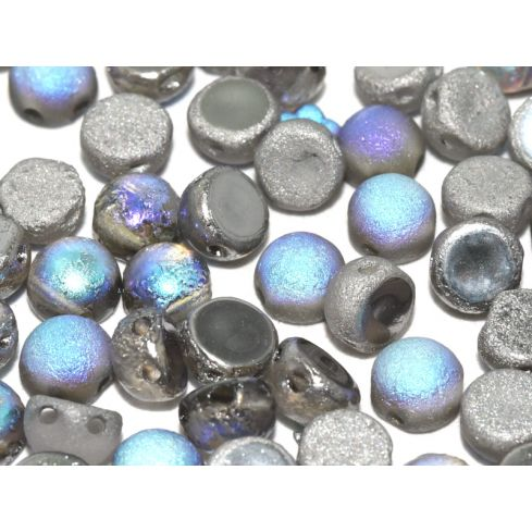 2-Hole Cabochon 6mm 00030-98587 Crystal Etched Graphite Rainbow