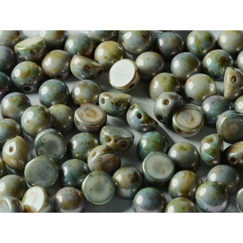 2-Hole Cabochon 6mm 03000-65431 Chalk White Blue Luster