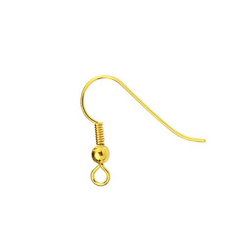Gold-Coloured Metal Hook Wire With Bead