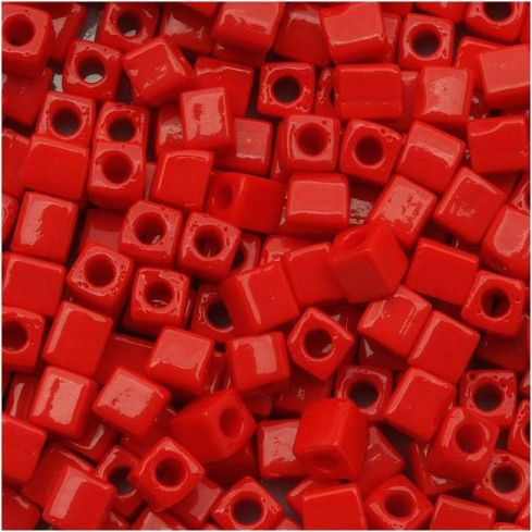 Miyuki Square Beads 4mm Opaque Red Red