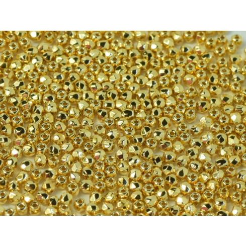 Fire polished 2mm Crystal 24kt Gold Plated - 100pcs